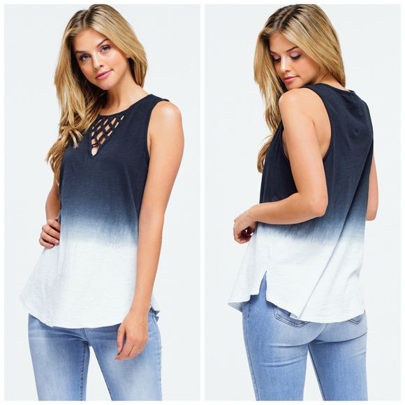 Montrez Tops - NEW! Charcoal Blue Ombré Tie Dye Lattice Neck Tank